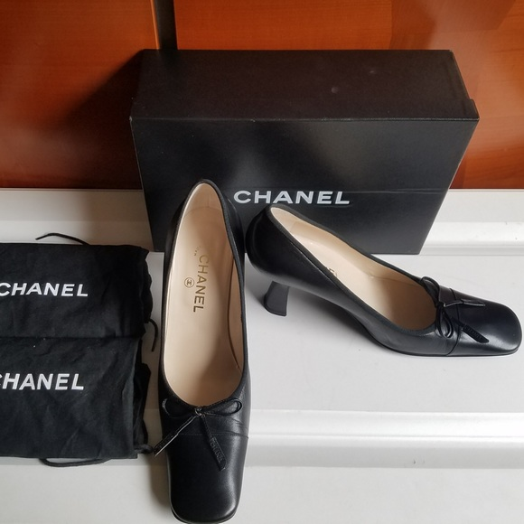 ae04f40005fc CHANEL Shoes | Classic Black Heels With Bow | Poshmark